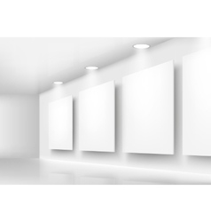Gallery of empty frames on wall with lighting vector image