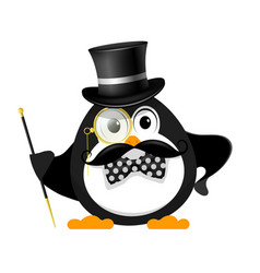gentleman with a bowler hat with a cane with a vector image