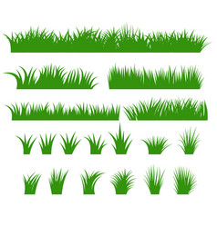 grass borders set green tufts vector image vector image