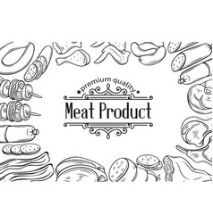 hand drawn meat product poster vector image