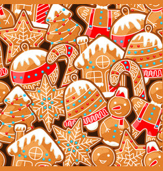 merry christmas seamless pattern with various vector image vector image