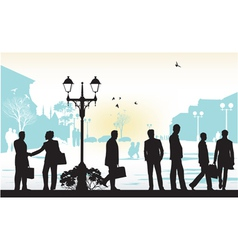 people silhouettes in blue background vector image vector image