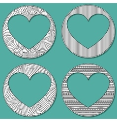 Set of uncolored 4 heart shaped frame in zen art vector