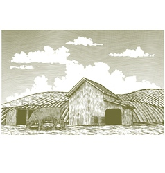 Woodcut Barn Yard vector image vector image