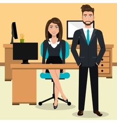 businesspeople in workspace isolated icon design vector image