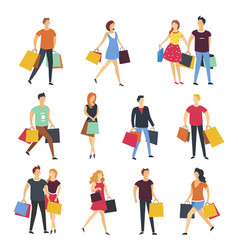 people shopping with shop bags cartoon flat vector image