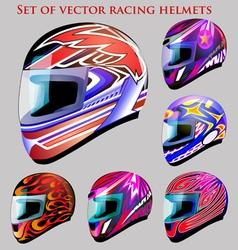 Set of beautiful racing helmets vector