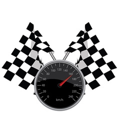 Speedometer and crossed flags vector image vector image