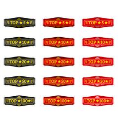 top 5 10 20 50 100 set of gradient badge vector image