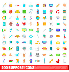 100 support icons set cartoon style vector image vector image