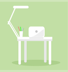 white notebook table lamp and several pencil pens vector image vector image