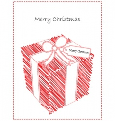 doodled Christmas gift vector image
