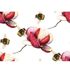 Magnolia and Bee pattern2 vector image vector image