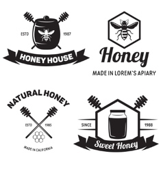 Set of vintage honey labels badges logotypes and vector image vector image