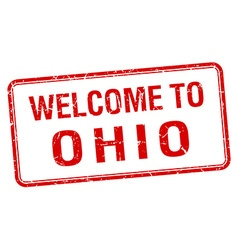 welcome to Ohio red grunge square stamp vector image