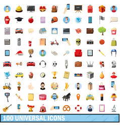 100 universal icons set cartoon style vector