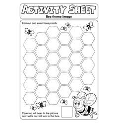 Activity sheet bee theme 2 vector
