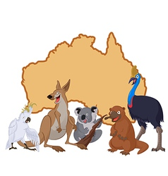 Australia with animals vector