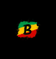 B letter logo in square grunge shape vector