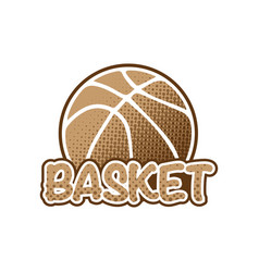 basketball brown logo vector image