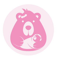Bear mom mother with baby logo silhouette head vector