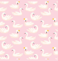 beautiful seamless pattern with swans in crowns vector image