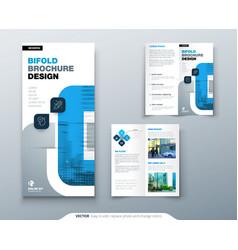 Bi fold brochure design with square shapes vector