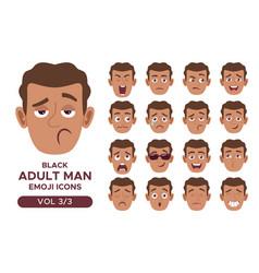 Black adult man emoji icon set 3 3 vector