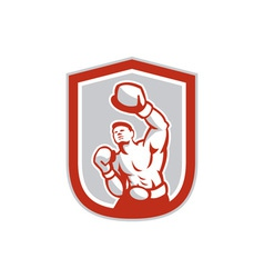 Boxer boxing jabbing front shield retro vector