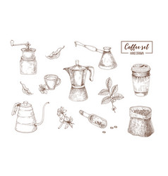 bundle realistic drawings tools for coffee vector image