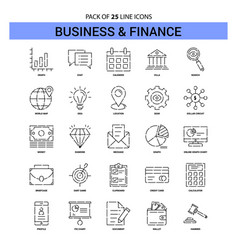 business and finance line icon set - 25 dashed vector image