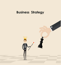 businessman hold scepter in his handking of chess vector image