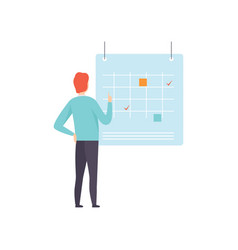 businessman planning and scheduling his agenda on vector image