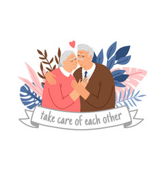 caring elderly couple vector image