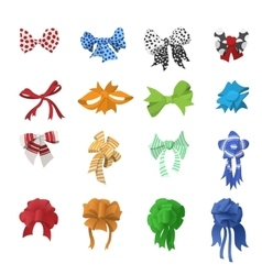 Cartoon bows and ribbons set vector