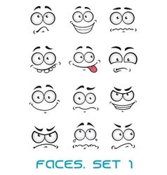 Cartoon faces with different emotions vector