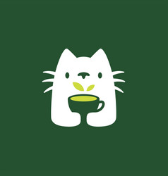 cat tree drink cup negative space logo icon vector image