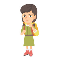 Caucasian little girl with school bag thinking vector