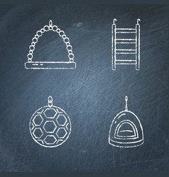 Chalkboard set of accessories for bird in cage vector