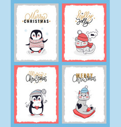 christmas cards with animals in winter clothes vector image