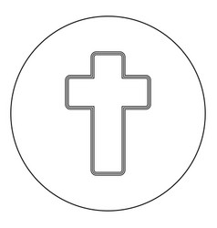 Church cross icon black color in circle vector