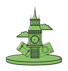 Color big ben of london with backpack and camera vector