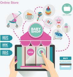 Concept banner template for baby shop vector