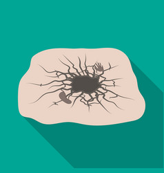 Crater single icon in flat style crater vector
