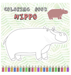 cute cartoon hippo silhouette for coloring book vector image