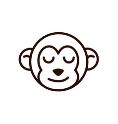 cute face monkey animal cartoon icon thick line vector image