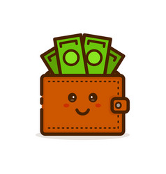 Cute smiling happy money wallet vector