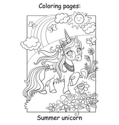 cute summer unicorn with flowers coloring vector image