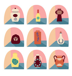 Decorative charming ceramic and crockery jugs in vector