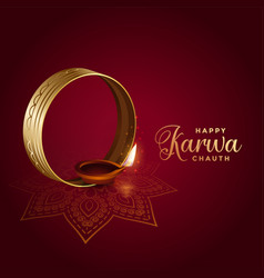 Decorative indian festival karwa chauth vector